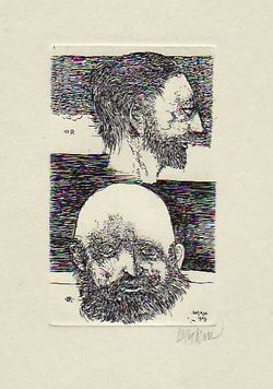 Dual Portrait Of Bresdin And Redon (print). Leonard Baskin.