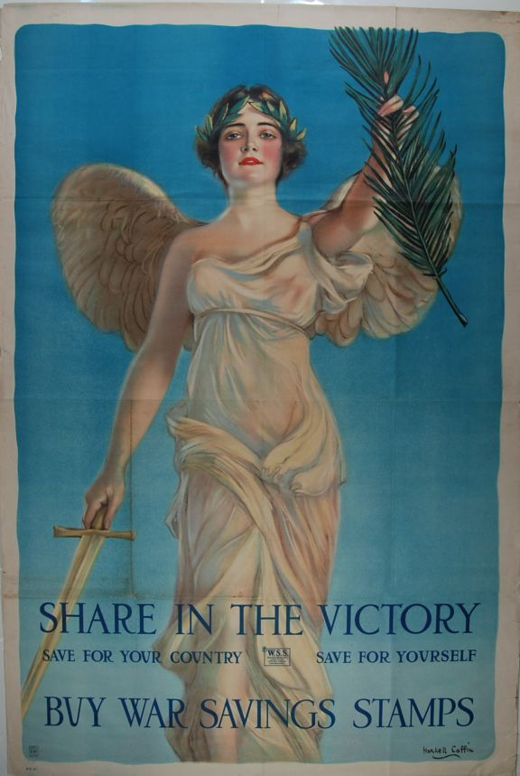 Share In The Victory : Save For Your Country, Save For Yourself : Buy War Saving Stamps (poster).; 1918. World War I. Haskell Coffin.