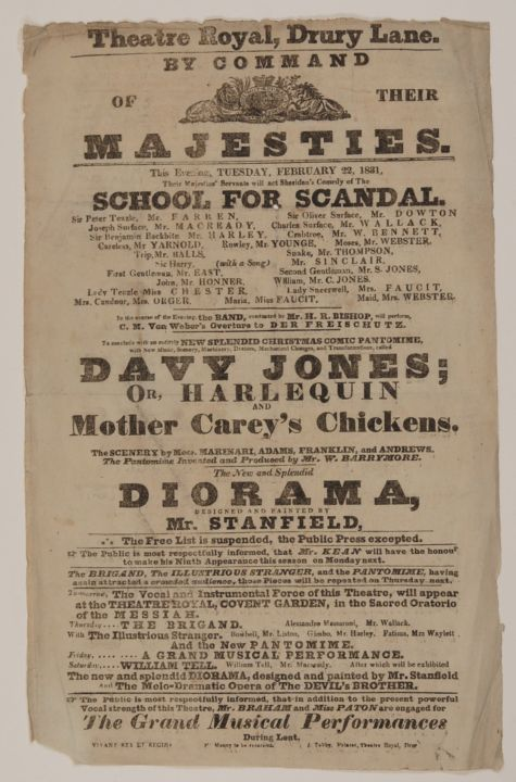 SCHOOL FOR SCANDAL (Broadside / Playbill). Richard Brinsley Sheridan.
