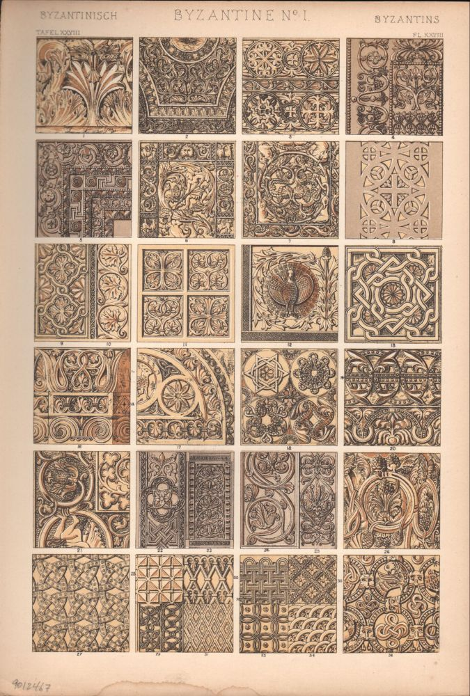 Byzantine No. 1. (PRINT) (GRAMMAR OF ORNAMENT). Owen Jones.