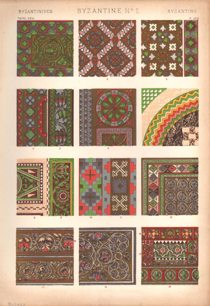 Byzantine No. 2. (PRINT) (GRAMMAR OF ORNAMENT). Owen Jones.
