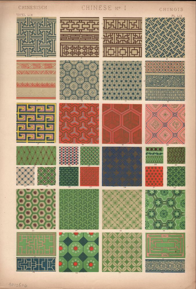 Chinese No. 1. (PRINT) (GRAMMAR OF ORNAMENT). Owen Jones.