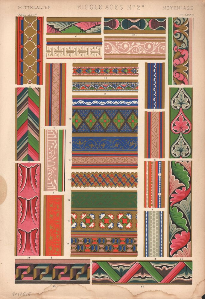 Middle Ages No. 2B. (PRINT) (GRAMMAR OF ORNAMENT). Owen Jones.