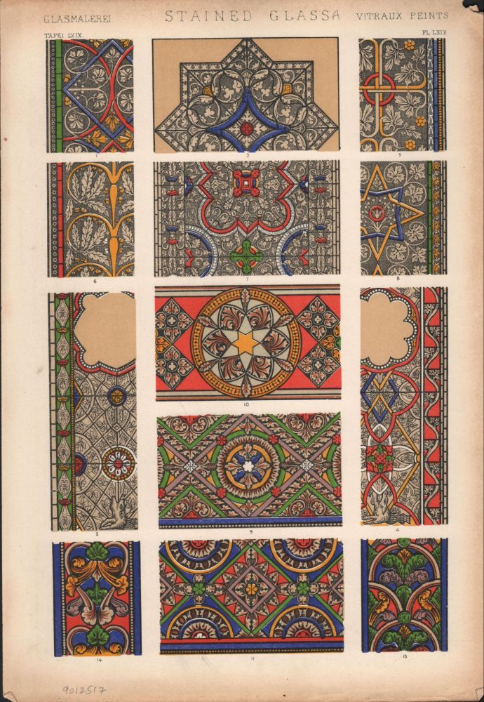 Stained Glass A. (PRINT) (GRAMMAR OF ORNAMENT). Owen Jones.