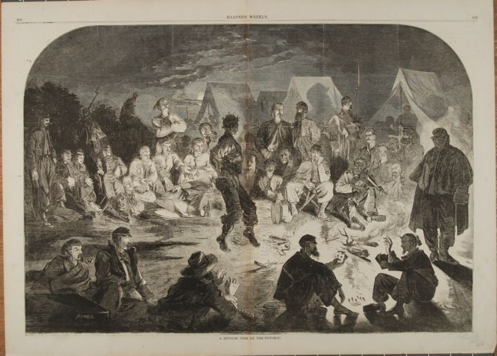A BIVOUAC FIRE ON THE POTOMAC (Print). Winslow Homer.