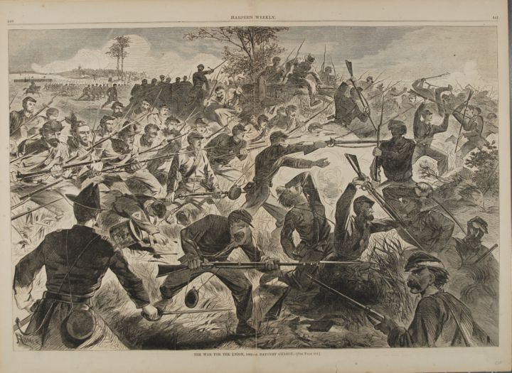 THE WAR FOR THE UNION, 1862 -- BAYONET CHARGE (Print). Winslow Homer.