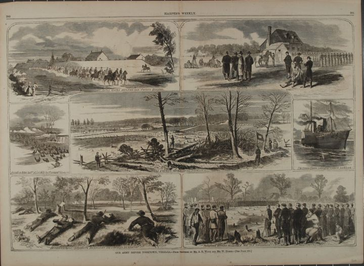 OUR ARMY BEFORE YORKTOWN, VIRGINIA (Print). Winslow Homer, A R. Waud.