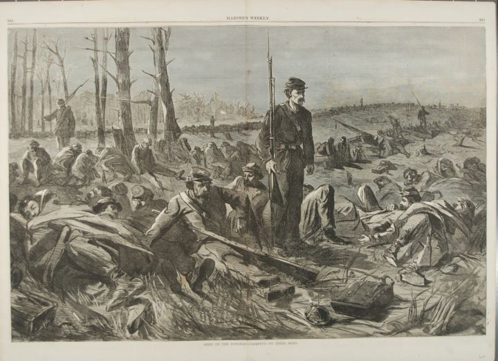 ARMY OF THE POTOMAC -- SLEEPING ON THEIR ARMS (Print). Winslow Homer.