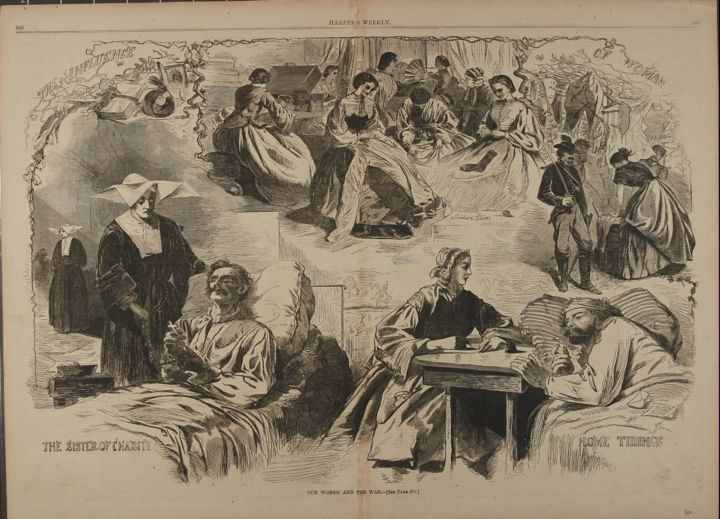 OUR WOMEN AND THE WAR (Print). Winslow Homer.