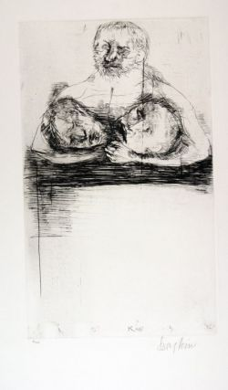 Man Holding Two Heads (Print). Leonard Baskin