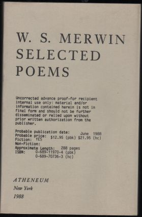 Selected Poems. W. S. Merwin